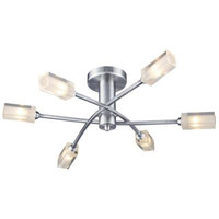 DAR MOR6446 Morgan 6 Light Ceiling Light SATIN CHROME