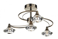 Dar LUT0475 Luther 4 Light Antique Brass Ceiling Light