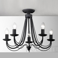 FLF4121735 5 light ironwork chandelier satin black