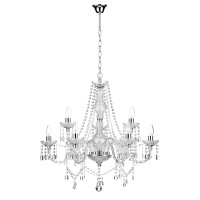 DAR KAT1350 Katie 9 Light Crystal Chandelier Polished Chrome
