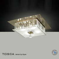 Diyas IL30247 Tosca 4 Light Antique Brass Crystal Flush