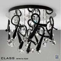 Diyas IL50381 Class 10 Light Chrome & Crystal Flush Ceiling Light