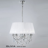 Diyas IL30056WH Olivia 8 Light Chrome & Crystal Pendant White shade