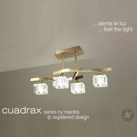 Mantra M0967AB Cuadrax 4 Light Antique Brass Semi-Flush