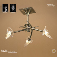 Mantra M0306AB Flavia 3 Light Antique Brass Semi-Flush Ceiling Light