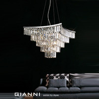 Diyas IL30643 Gianni 9 Light Crystal Ceiling Pendant Polished Chrome
