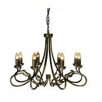 Elstead OV8 Olivia 8 Light Black Gold Chandelier