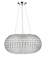 Dar PLA0350 Plaza 3 Light Crystal Pendant Polished Chrome