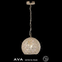 Diyas IL30751 AVA 4 Light  French Gold Crystal Ceiling Pendant