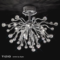 DLI1530870 Polished Chrome Crystal Ceiling Light
