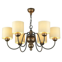 David Hunt GAR0615 Garbo 6 Light Bronze With Cream Shades Ceiling Pendant