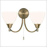 E3118052AN 2 Light Antique Brass Wall Light