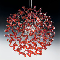 Metallux Astro 206.180.04 8 Light Cherry Red Glass Pendant