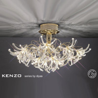 Diyas IL30890 Kenzo 12 Light Gold Crystal Ceiling Light