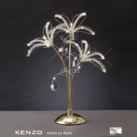 Diyas IL30892 Kenzo 3 Light Gold Crystal Table Lamp S/O