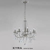 Diyas IL30978 Kyra 8 Light Satin Nickel Chandelier