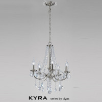 Diyas IL30975 Kyra 5 Light Satin Nickel Crystal Chandelier