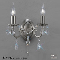 Diyas IL30972 Kyra 2 Light Satin Nickel Crystal Wall Light
