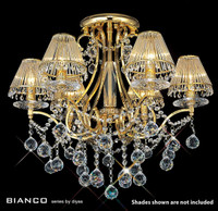 Diyas IL30216 Bianco 6 Light Gold & Crystal Chandelier