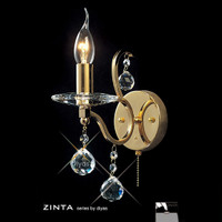 Diyas IL30221 Zinta 1 Light Gold & Crystal Wall Light