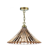 Dar ARD866 Ardeche 1 Light Fluted Glass Pendant Antique Brass