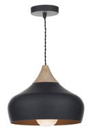 Dar GAU0122 Gaucho 1 Light Matt Black/Wood Pendant