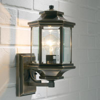 Dar LAD1675 Ladbroke Antique Brass Outdoor Wall Light