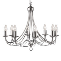 S9163488SS Maypole 8 Light Chandelier Stainless Steel