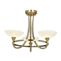 Endon CAGNEY-3AB Cagney 3 Light Ceiling Light Antique Brass
