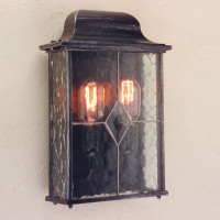 E1516324 2 Light Half Wall Lantern Black/Silver