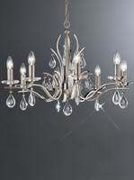 FL2298/8  8 Light Chandelier Satin Nickel