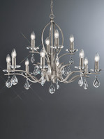 FL2298/12  12 Light Chandelier Satin Nickel