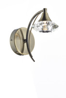 Dar LUT0775 Luther 1 Light Antique Brass Wall Light