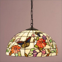 Interiors 1900 TV158M/SU02 Butterfly 1 Light Tiffany Pendant