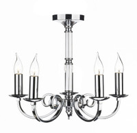 Dar MUR0550 Murray 5 Light Ceiling Pendant Polished Chrome
