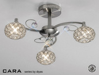 Diyas IL30933 Cara 3 Light Semi-Flush Ceiling Light Satin Nickel