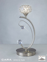 Diyas IL30939 Cara 1 Light Crystal Table Lamp Satin Nickel