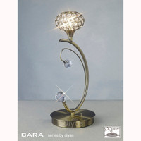 Diyas IL30949 Cara 1 Light Table Lamp Antique Brass