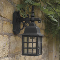 Dar NOR1522 Norfolk 1 Light Down Wall Light Black
