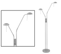 O55JUFLSC Twin Headed Floor Lamp Satin Nickel