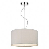 Dar REN1039 Renoir 40cm 3 Light Pendant With Silver Grey Silk Shade