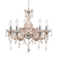 S9114555MI Mare Therese 5 Light Chrome & Mink Chandelier