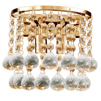 S9124022GO Hanna 2 Light Gold & Crystal Wall Light