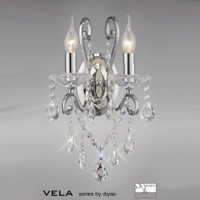Diyas IL31362 Vela Twin Wall Light Crystal Chandelier Chrome
