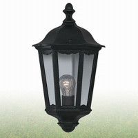 S9182505BK Alex Outdoor Half Lantern Black