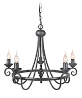 Elstead HR5/A BLK Harlech 5 Light Chadelier Black