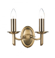 Dar AMB0975 Ambassador 2 Light Wall Light Antique Brass
