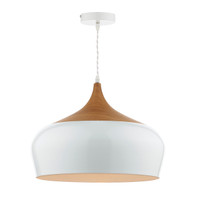 Dar GAU8602 Gaucho 1 Light Large White Ceiling Pendant
