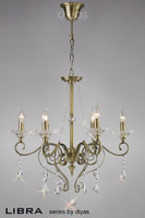 Diyas IL32076 Libra 6 Light Crystal Chandelier Antique Brass