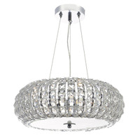 Dar PIA0350 Pilazza 3 Light Crystal Pendant Polished Chrome